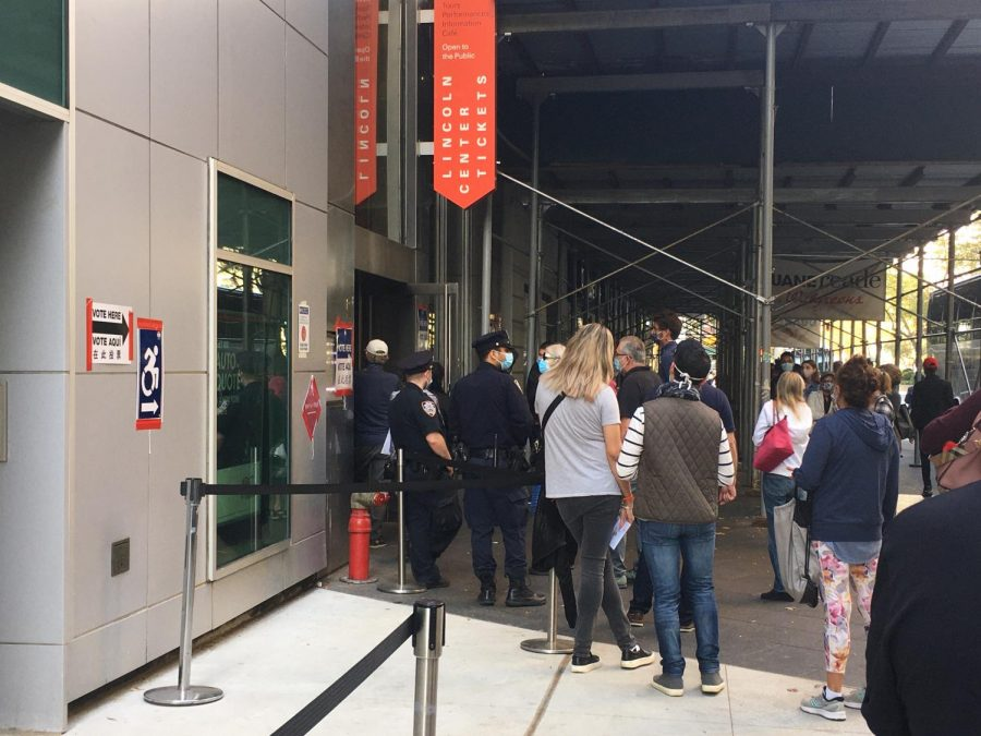 voters line up to vote for their candidates of choice in the New York primary election