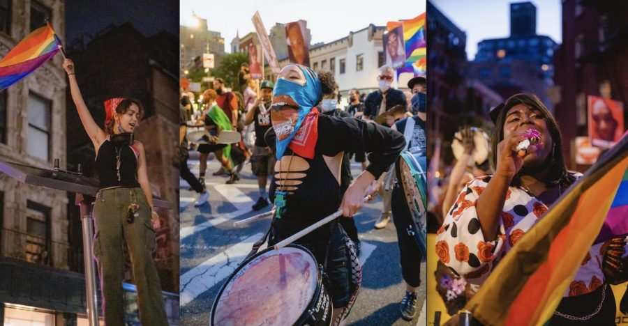 Three images put together in a graphic, one of a single protestor at Pride, another of a larger group of Pride marchers, and one of a woman witha microphone at Pride.