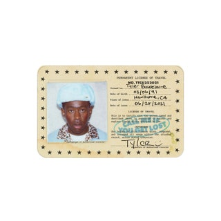 """A square albumcover, featuring a """"Permanent License to Travel"""" with Tyler the Creator"""
