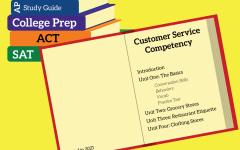 graphic of a book of customer service competency. text reads: Customer Service Competency, Introduction, Unit 1: The Basics, conversation skills, behaviors, vocab, practice test; Unit 2: Grocery Stores; Unit 3: Restaurant Etiquette; Unit 4: Clothing Stores.