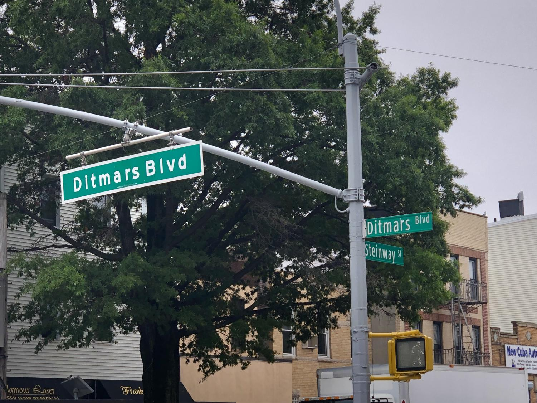 Street sign of Ditmars Blvd