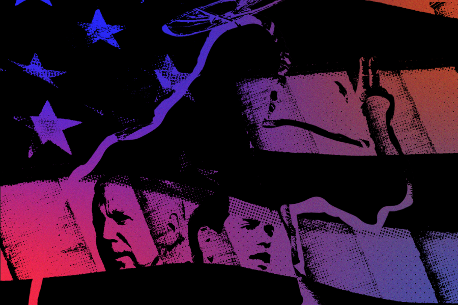 a purple and blue neon flag, with prominent U.S. catholics and Christian symbols