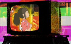 Spirited Away screenshot on a colored background set inside a TV image