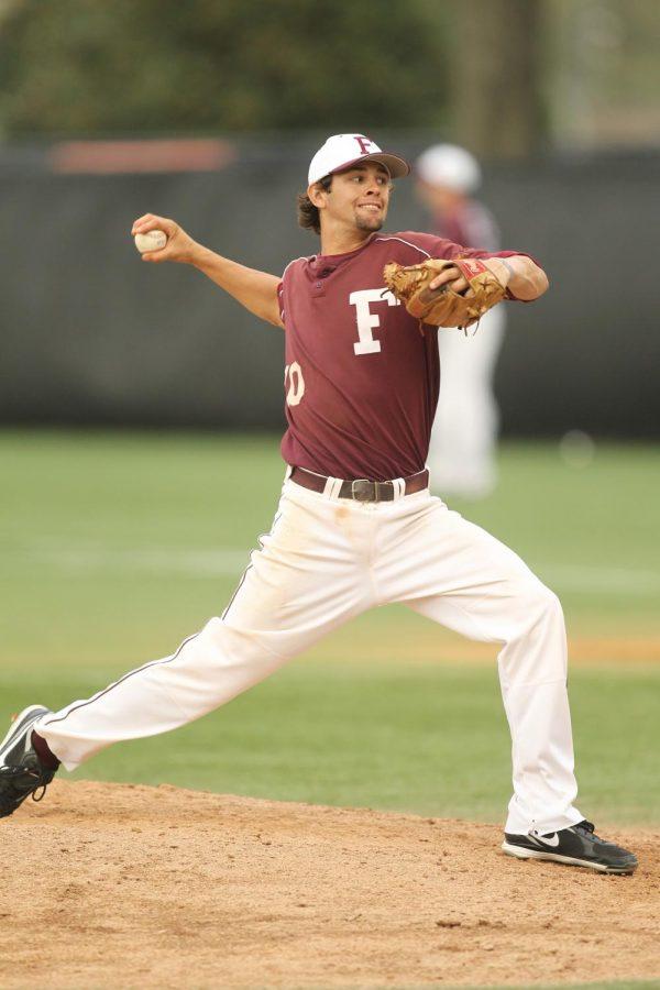 Nick Martinez pitches in a fordham uniform