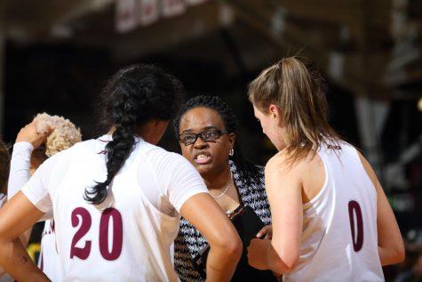 Sonia Burke coaches the women's basketball team