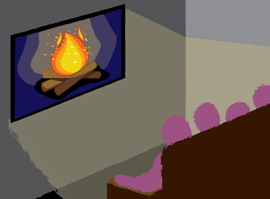a cartoon image of a bonfire on a television screen