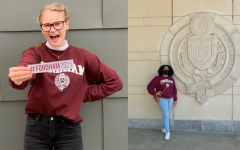 two students pictured in a collage, one holding a Fordham 2025 sticker and the other standing in front of a Fordham seal outside