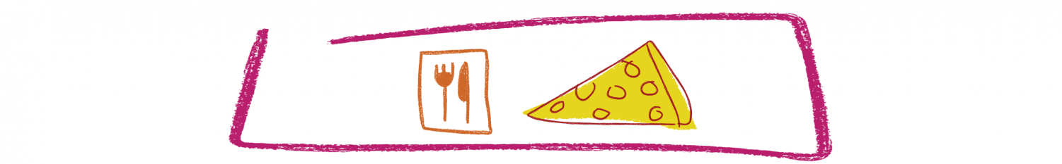 Rose Hill food with dining symbol and pizza slice graphic