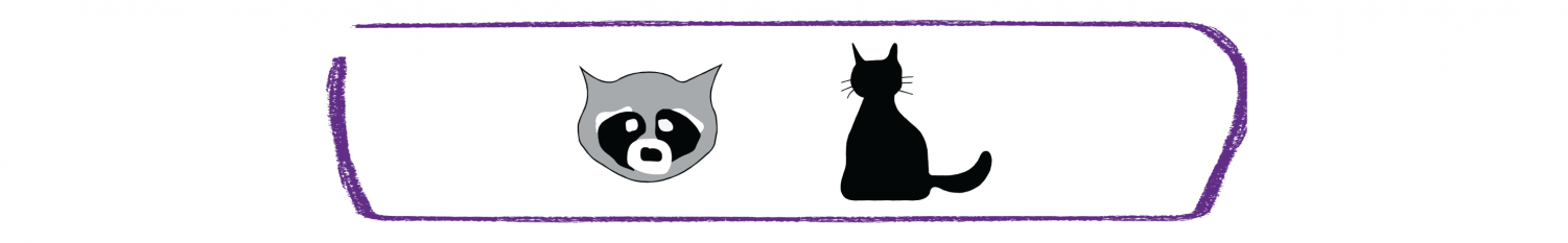 Rose Hill raccoon and cat graphics