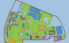 graphic rose hill map with colored buildings
