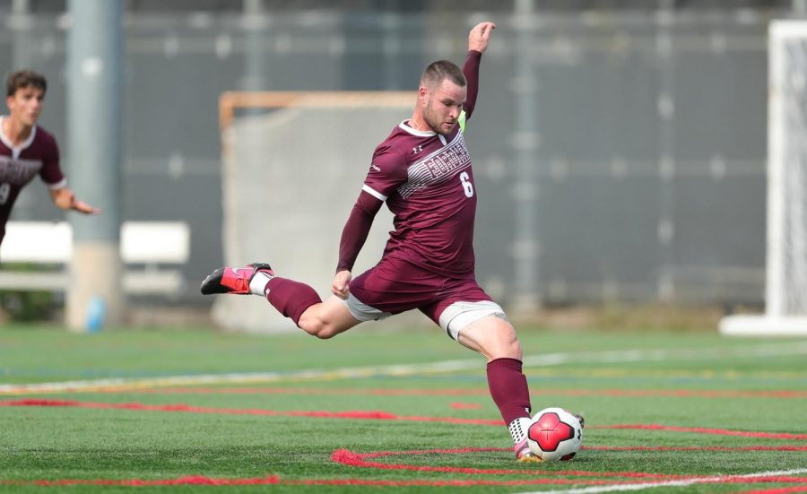Matt Sloan, GSAS 22, played an integral part for the team, with his throw-in leading to Fordhams game-tying goal in the 36th minute.