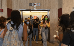 for an article about the delta variant, elevator of students at Lincoln Center