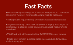 Fordham Forward Fast Facts are detailed in a bullet point list on a maroon background