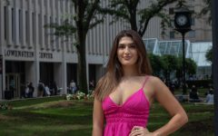 Djellza Pulatani, head of the Committee on Sexual Misconduct, stands in front of the Leon Lowenstein building