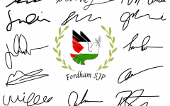 a dove colored in red, white, black and green with the words Fordham SJP surrounded by signatures