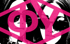 greek letters in pink overlayed on top of two people wearing sunglasses