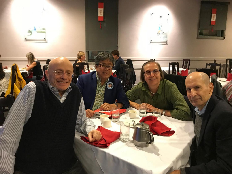 From Left to Right: Dr. Leonard Jason, Dr. John Moritsugu, Dr. Jane Harmon, and Dr. David Glenwick, at dinner in 2015, in San Francisco.