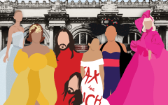 met gala attendees in graphic format on top of an image of the met