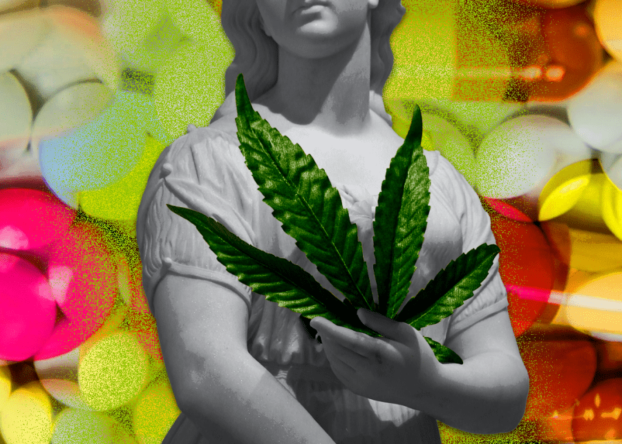 angel holding cannabis leaf on colorful background