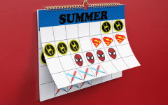 summer calendar with icons of superhero and star wars logos