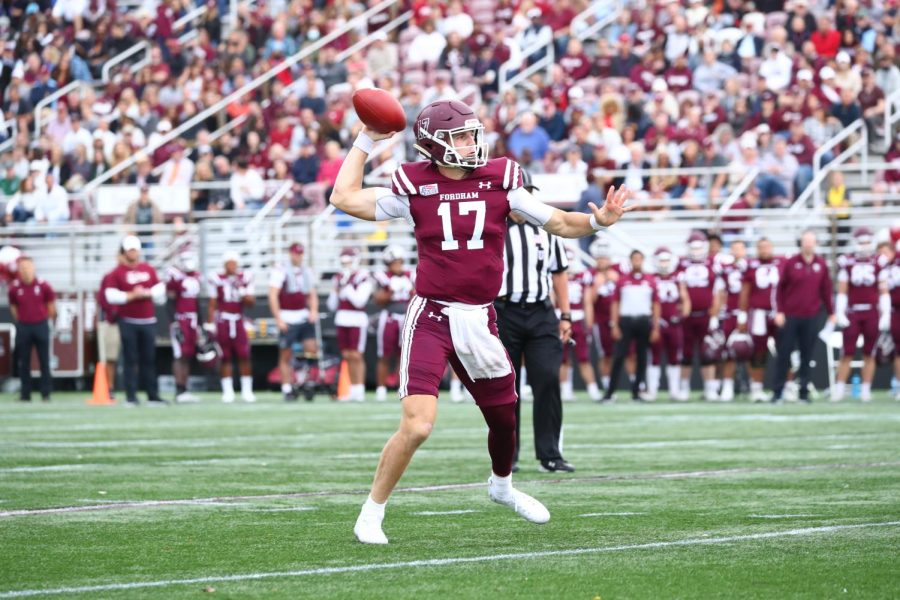 Tim DeMorat, FCRH '22, threw for 339 passing yards and four touchdowns in the first half against Wagner.