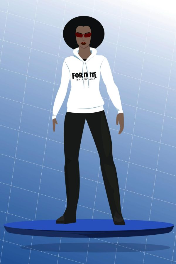 cartoon graphic of a woman wearing a Fortnite hoodie