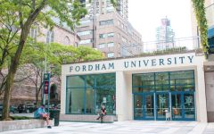 for an article about free speech rights on campus, the front entrance of fordham lincoln center