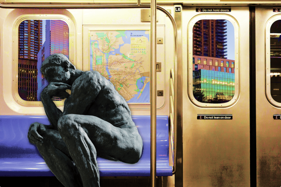 a graphic of the thinker statue on a train, representing commuters