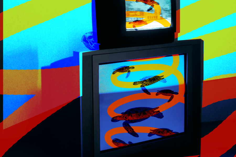 for an article on ocd, colorful image of turtles all the way down on tv screens