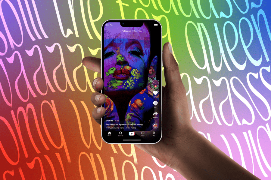 image of tiktok screen on colorful background